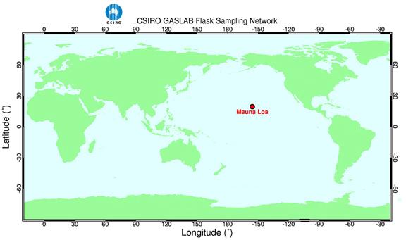 Map Showing The Location Of Manua Loa, Hawaii, USA